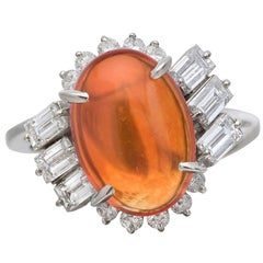 2.47 Carat Fire Opal Diamond Platinum Cocktail Ring
