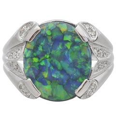 3.37 Carat Black Opal  Diamond Platinum Ring