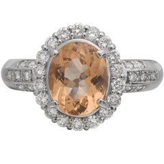 1.94 Carat Imperial Topaz and Diamond Halo Ring