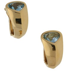 Marina B Gold Aquamarine Earrings