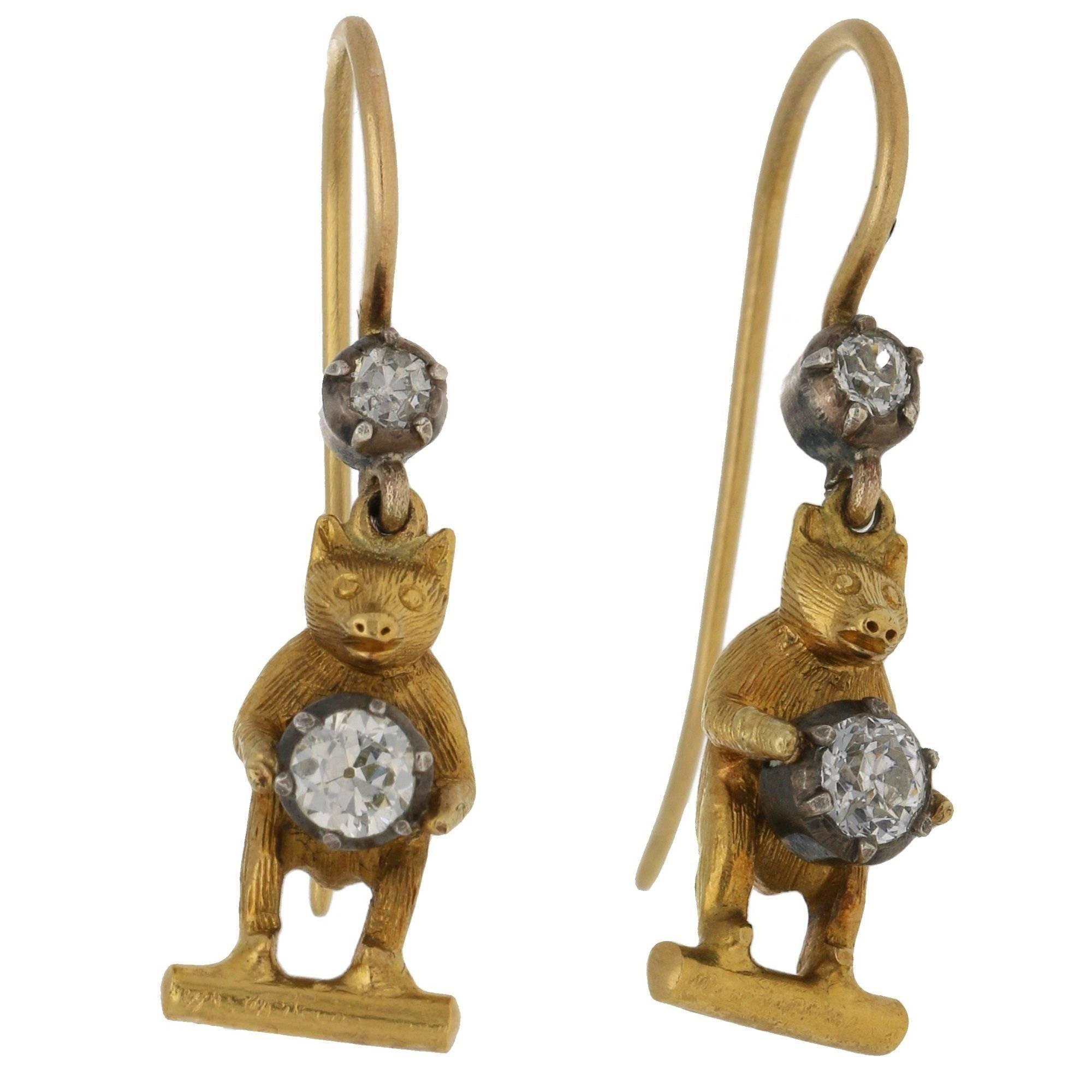 Victorian Diamond Bear Drop Earrings in 15k Yellow Gold