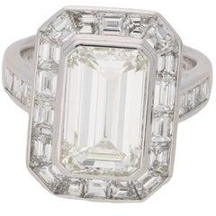 4.13 Carat Emerald Cut Diamond Engagement Ring