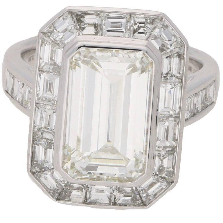 deco style 4 13 carat emerald cut engagement ring for sale at 1stdibs