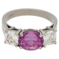 3.16 Carat Pink Sapphire Diamond Three-Stone Ring