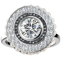 Brilliant Cut Diamond Ring with Black/White Diamond Pave and Pearls in Platinum