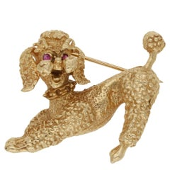 1950s Gold Ruby Poodle Dog Brooch