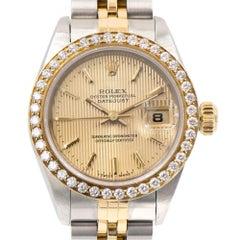 Rolex Ladies Yellow Gold Stainless Steel Datejust Diamond Bezel Wristwatch