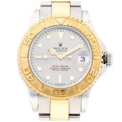 Rolex Yellow Gold Stainless Steel Platinum dial Midsize Yachtmaster Wristwatch