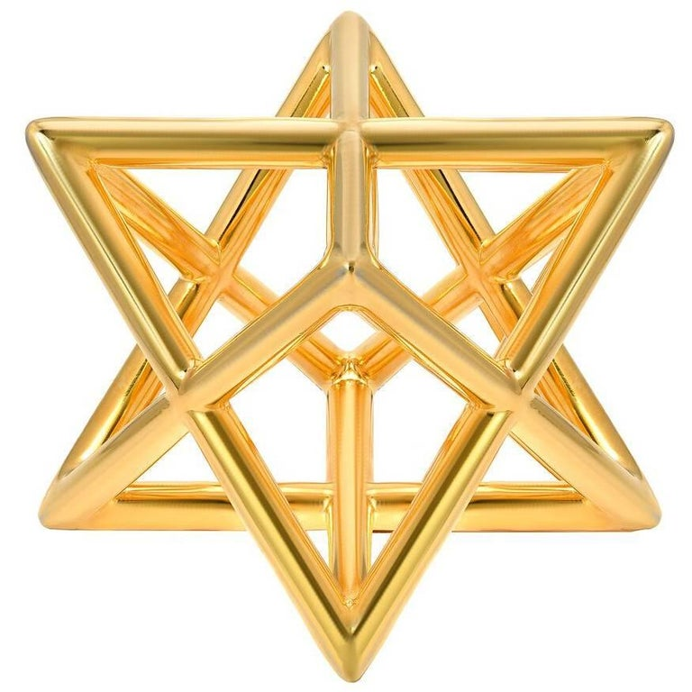 Merkaba Three Dimensional Star of David Gold Plated Pewter Countertop Art Object