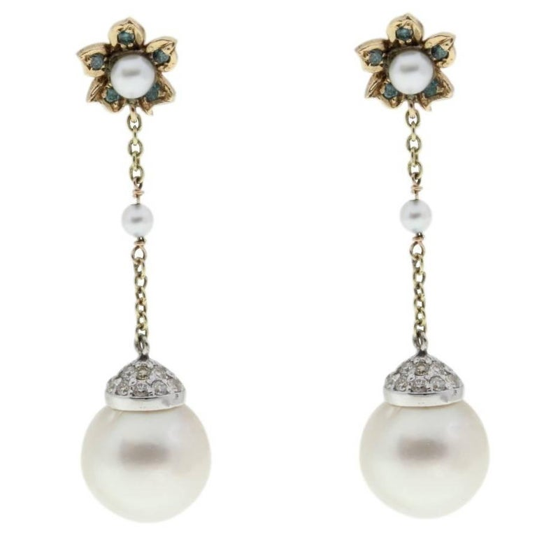 Gold Dangle Earrings with Diamonds and Australian Pearls