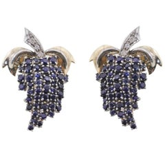 Fashion Stud  Gold Earrings with Diamonds and Sapphires