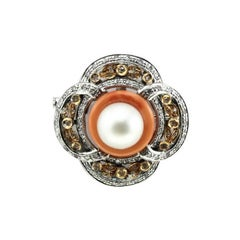 Diamonds,Australian Pearl, Orange Coral Ring, White Gold Brooch/Pendant Necklace