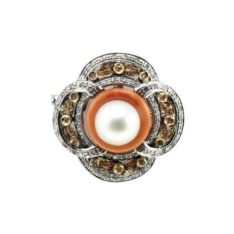 Gold Brooche/Pendant with Diamonds, Australian Pearl and Coral