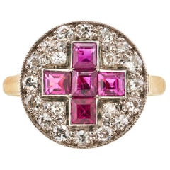 Antique Ruby and Diamond Cross Panel Ring