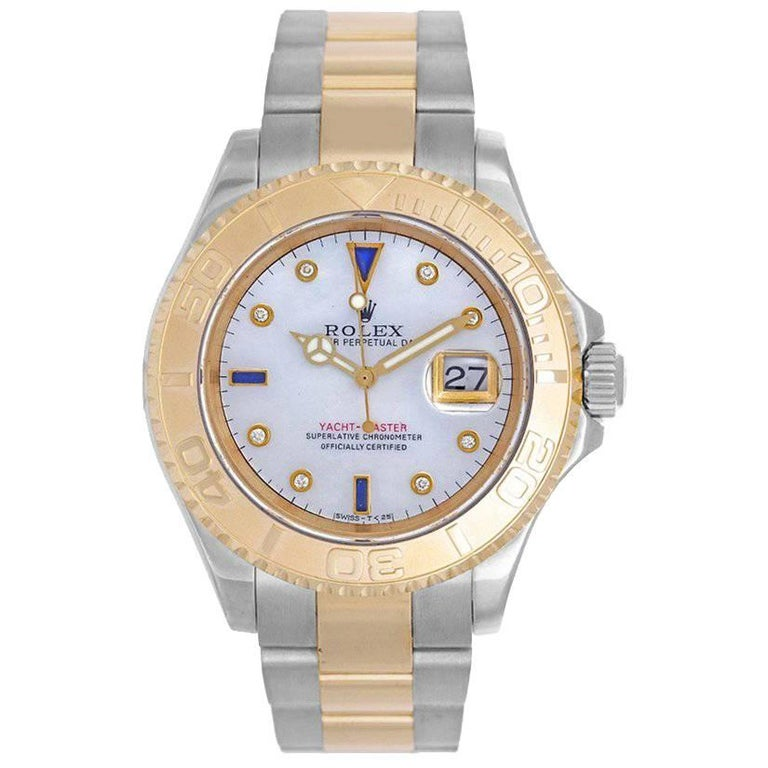 Rolex yellow gold stainless steel Yacht-Master chronometer wristwatch