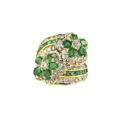 Emerald and Diamond Floral Crossover Ring
