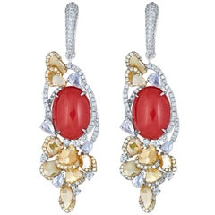 Sliced Diamond Red Coral Hanging Earring