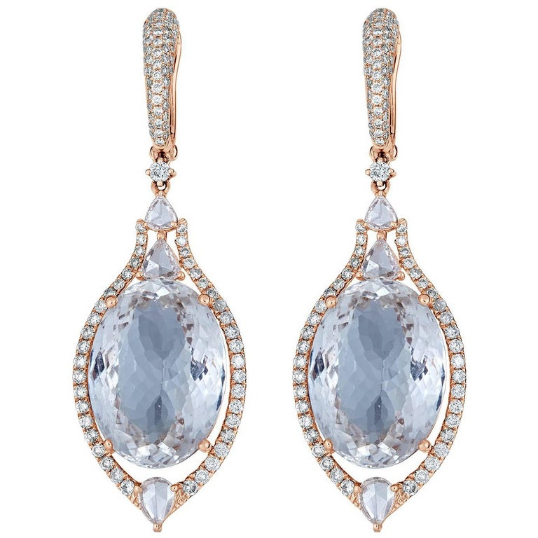Aquamarine Diamond Drop Earring 1