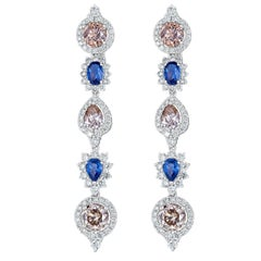 Blue Sapphire Brown and White Diamond Linear Earring