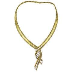 French Twist Diamond 18 Karat Yellow Gold Necklace