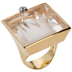 Munsteiner Phantom Quartz and Diamond Ring in 18 Karat Yellow Gold