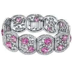19.54 Carat Pink Sapphire 10.99 Carat Diamond Platinum Bracelet