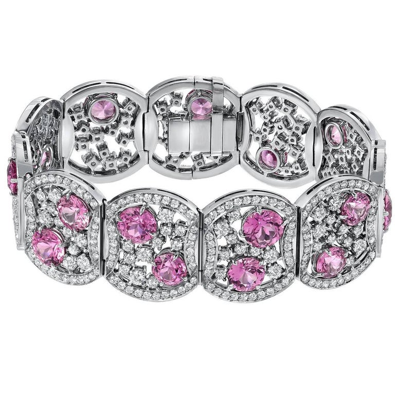 19.54 Carat Pink Sapphire 10.99 Carat Diamond Platinum Bracelet For Sale