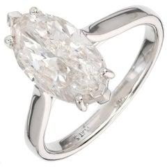 Peter Suchy 3.07 Carat Marquise Diamond Solitaire Platinum Engagement Ring
