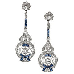 Handmade Sapphire Diamond Platinum Drop Earrings