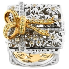 Zorab Creation Yellow and White Diamond Square Gold Ribbon Cocktail Ring