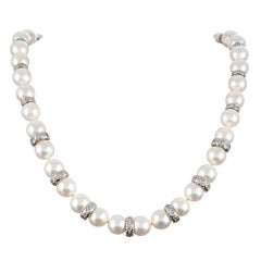 Pearl and Diamond Rondelle Necklace