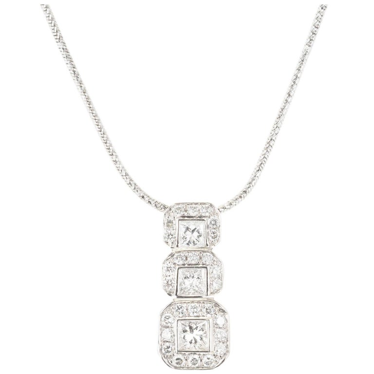 Princess Round Diamond White Gold Pendant Necklace