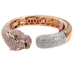 Natural Pink Diamond Panther Rose Gold Cuff Bracelet