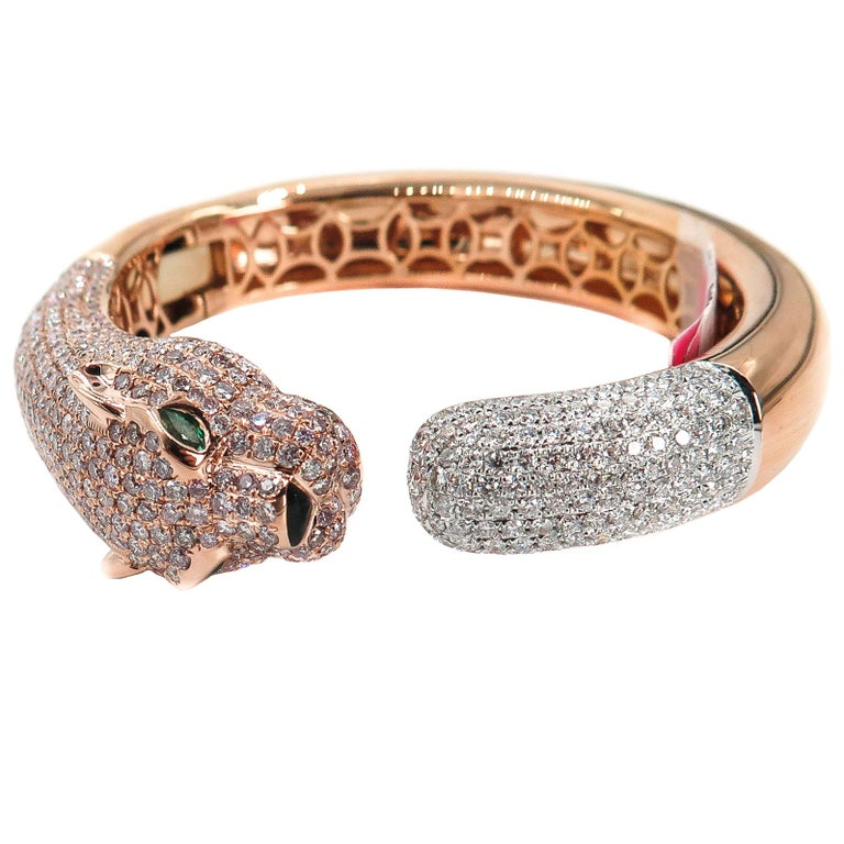 Natural Pink Diamond Panther Rose Gold Cuff Bracelet