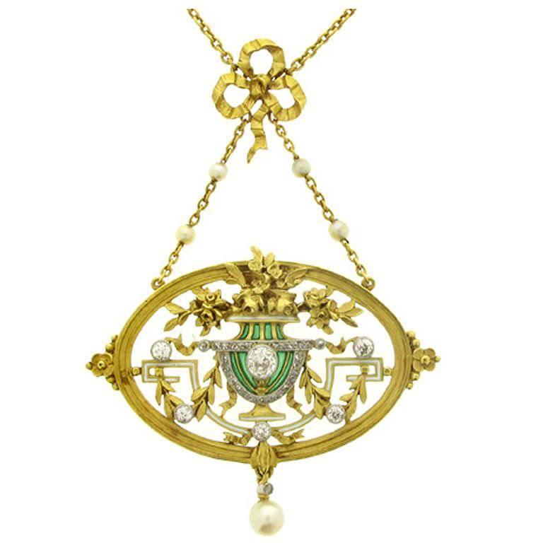 Art Nouveau Pendant Necklace/Brooch by Gautrait