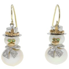 14 Kt White Gold, 14 Kt Rose Gold Pearl &  Diamond Snowman  Dangle Earrings