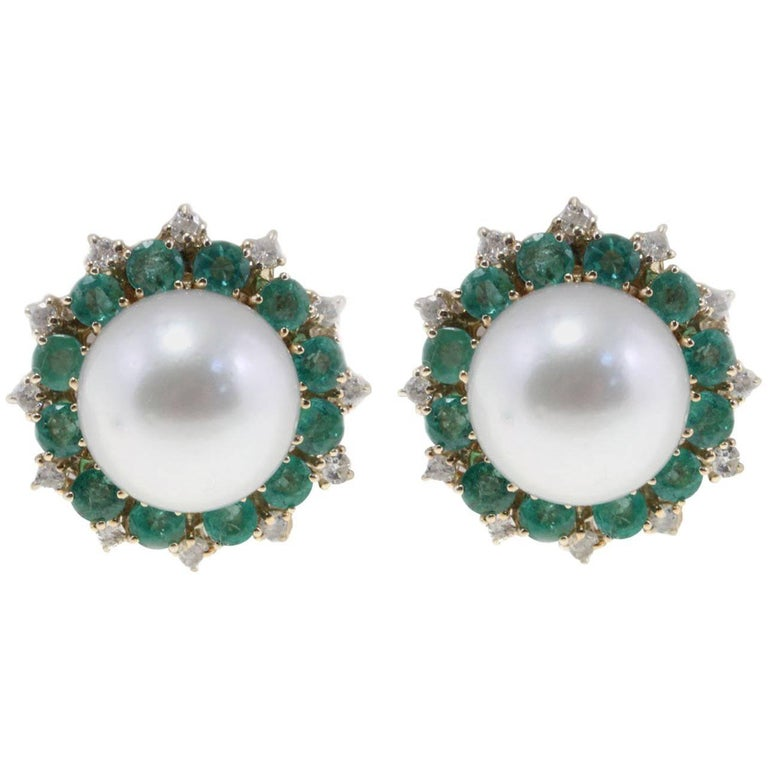 Emerald South Sea Australian Pearl Diamond Earrings
