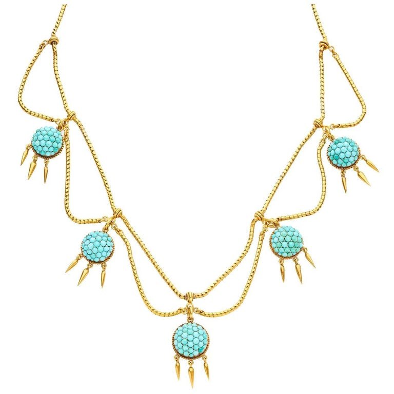 18 Carat Yellow Gold Turquoise Victorian Fringe Necklace