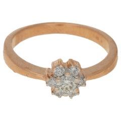 Diamond Floral Engagement Ring in 14 Karat Rose Gold