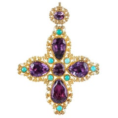 Victorian Cannetille Turquoise and Amethyst Cross Pendant