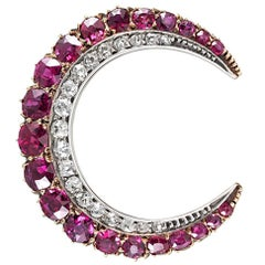 Edwardian Ruby and Diamond Crescent Moon Brooch