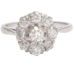 Edwardian 1.2 Carat Old Cut Diamond Cluster Ring