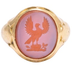"Mid-Victorian ""Hawk and Oak"" Intaglio Signet Ring"