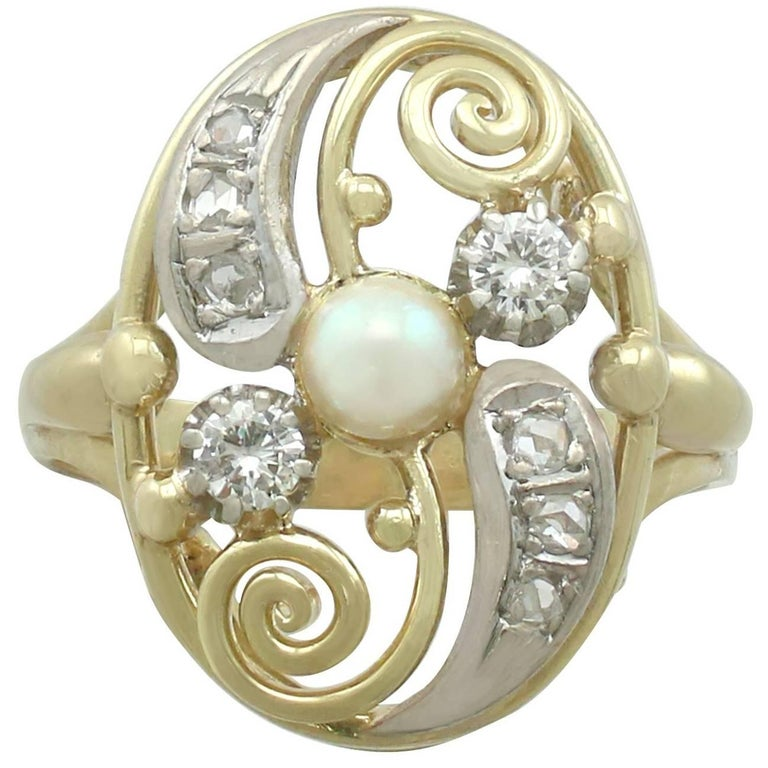 1940s Diamond and Pearl Yellow Gold Dress Ring