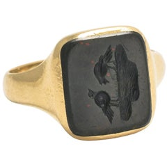 "Victorian ""Bathing Birds"" Intaglio Signet Ring"