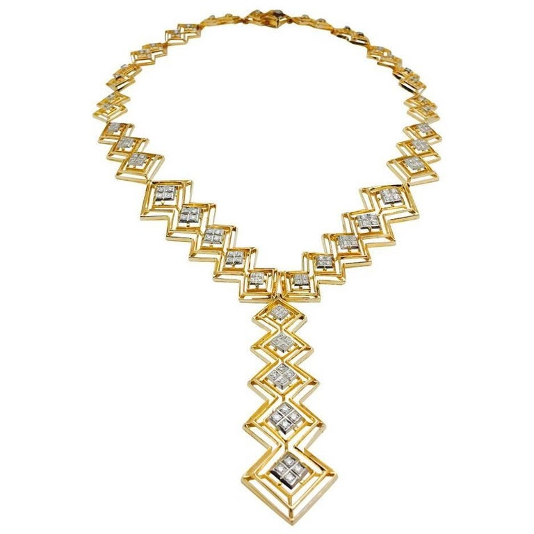 Ilias Lalaounis Diamond Yellow Gold Tie Necklace