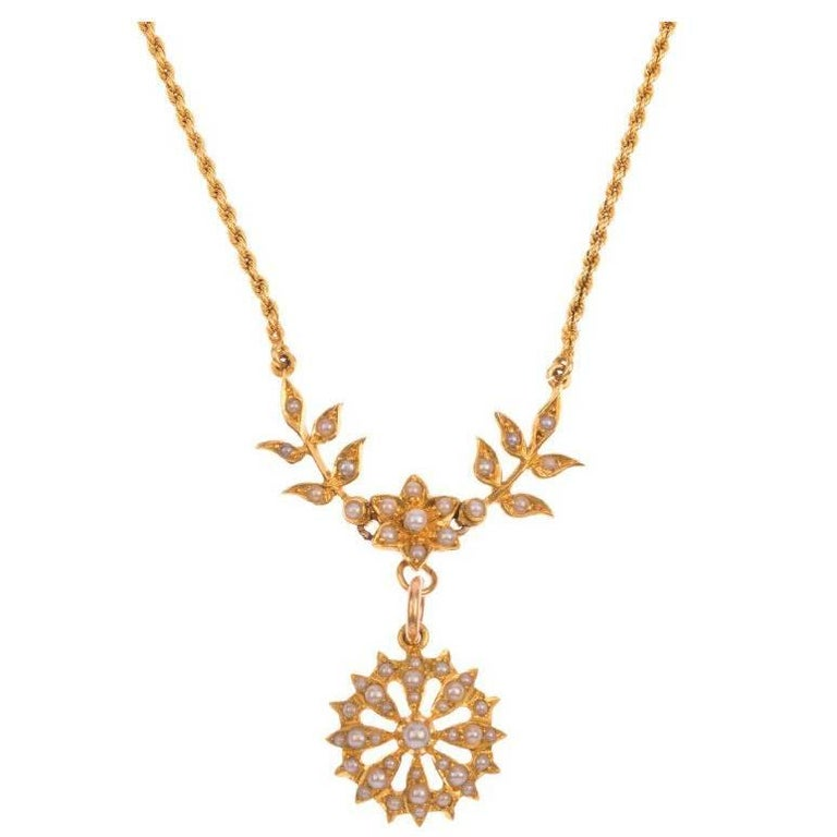 Victorian 15 Carat Yellow Gold Split Pearl Necklace For Sale