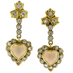 Lovely Victorian Revival Opal Diamond Yellow Gold Earrings