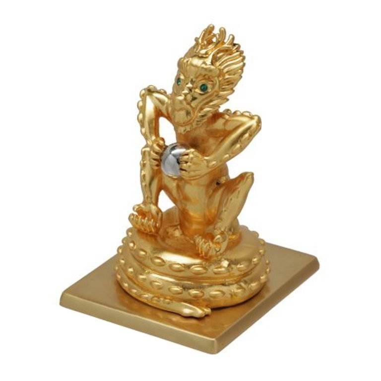 Antique Gold-Plated Bronze Dragon by John Landrum Bryant