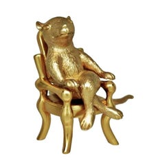 "Antique Gold-Plated Bronze ""The Year Of The Rat"" by John Landrum Bryant"